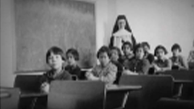 black and white photograph of classroom